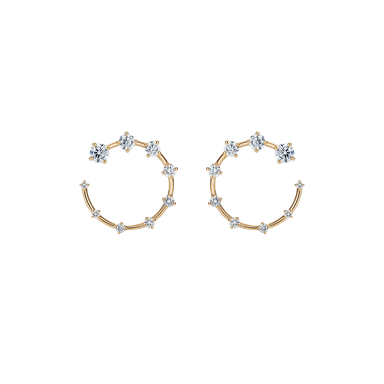 Diamond Open Circle Earrings