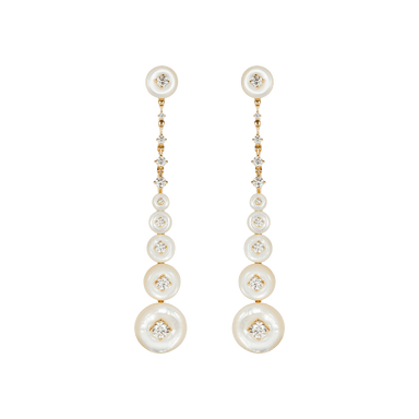 White Mother of Pearl and Diamond Surrounding Long Earrings