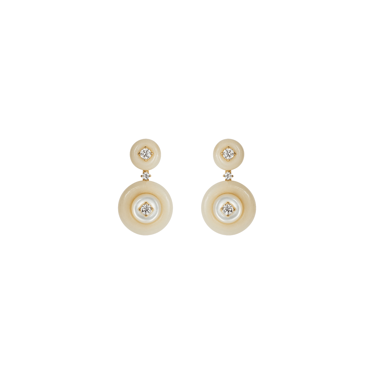 White Mother of Pearl, Tagua, and Diamond Small Signal Earrings