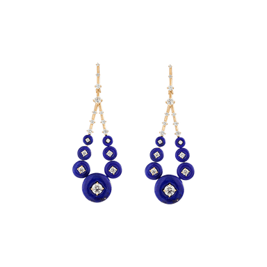 Lapis Lazuli and Diamond Gravity Medium Drop Earrings