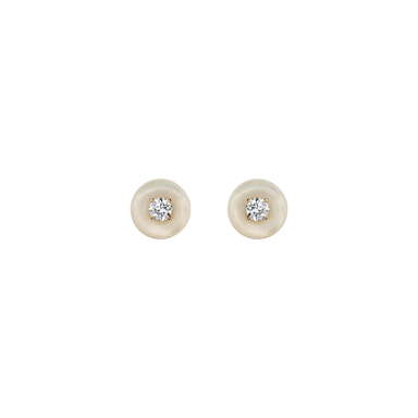 White Mother of Pearl and Diamond Small Orbit Studs