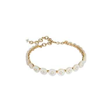 White Mother of Pearl and Diamond Small Surrounding Bracelet