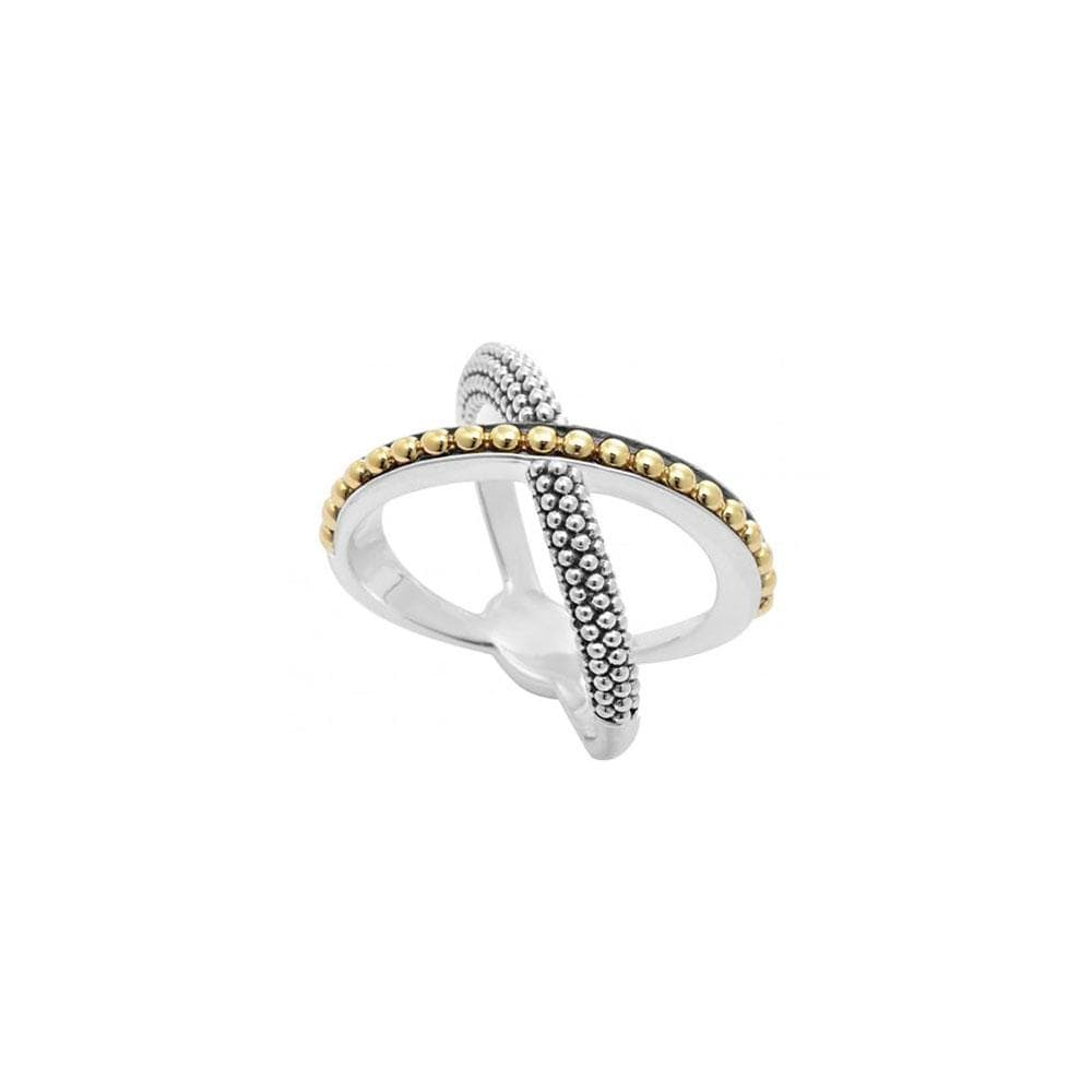 INFINITY GOLD BEADED X RING