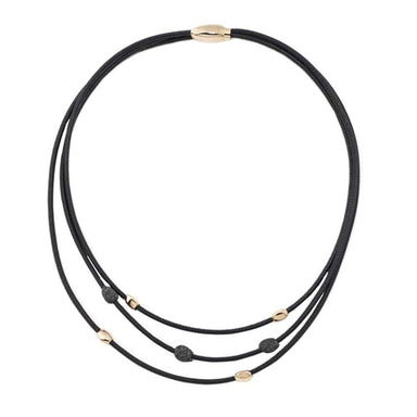 3 STRAND BLACK LEATHER & POLVERE NECKLACE