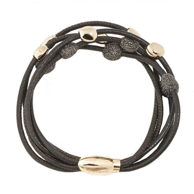 3 STRAND BROWN LEATHER & POLVERE BRACELET