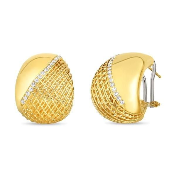 18KT GOLD ROUNDED TAPERED EARRINGS WITH DIAMONDS