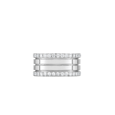 18K 4 ROW PORTOFINO BAND W. DIAMOND EDGES