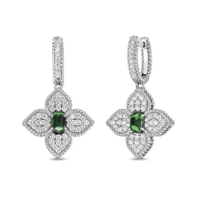 Princess Flower Tsavorite & Diamond Drop Earrings