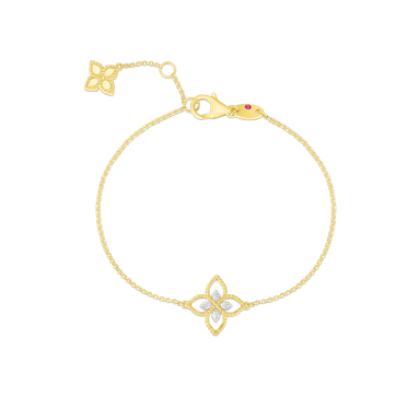 18K PRINCIPESSA SMALL SINGLE DIAMOND FLOWER BRACELET