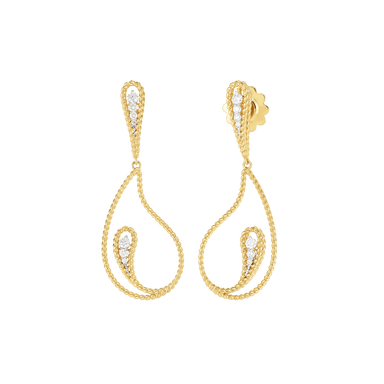 Diamond Byzantine Barocco Paisley Drop Earrings