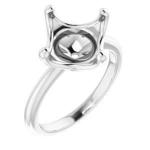 10K White 10 mm Cushion Engagement Ring Mounting