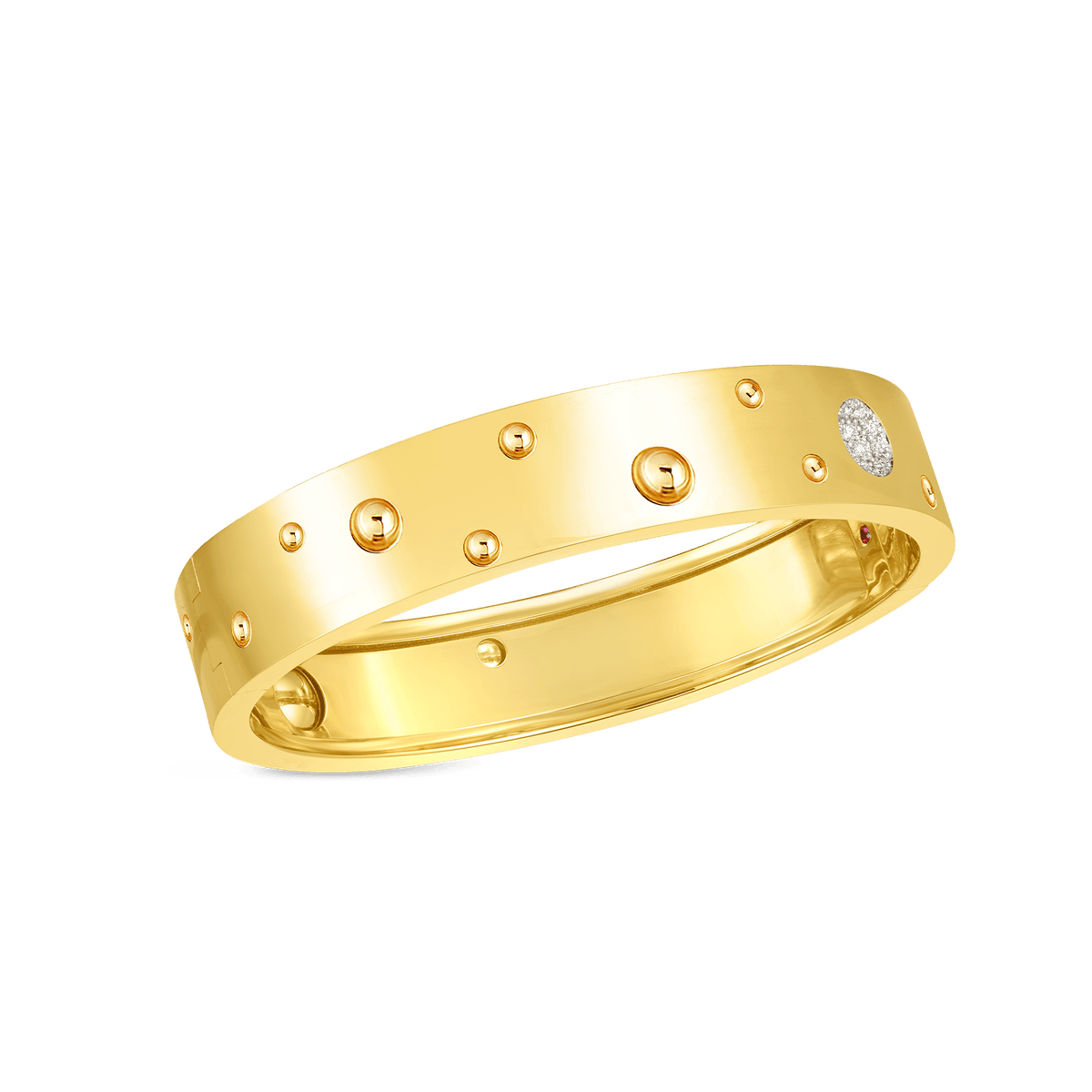 18K GOLD & DIAMOND ACCENT POIS MOI LUNA MED WIDTH BANGLE