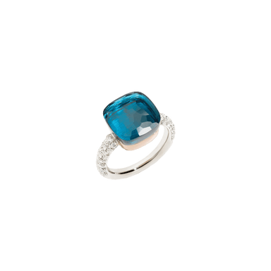 London Blue Topaz and Diamond Nudo Maxi Ring
