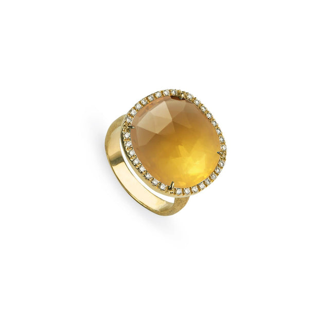 Jaipur Yellow Citrine and Diamond Large Ring