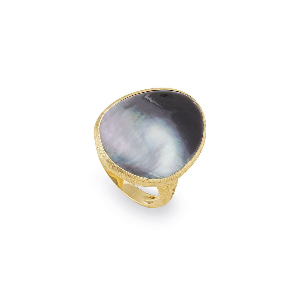 Lunaria Gold & Black Mother of Pearl Cocktail Ring