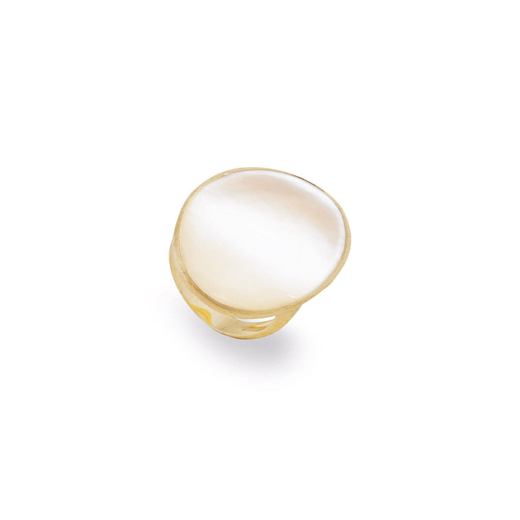 Lunaria Gold & White Mother of Pearl Medium Cocktail Ring