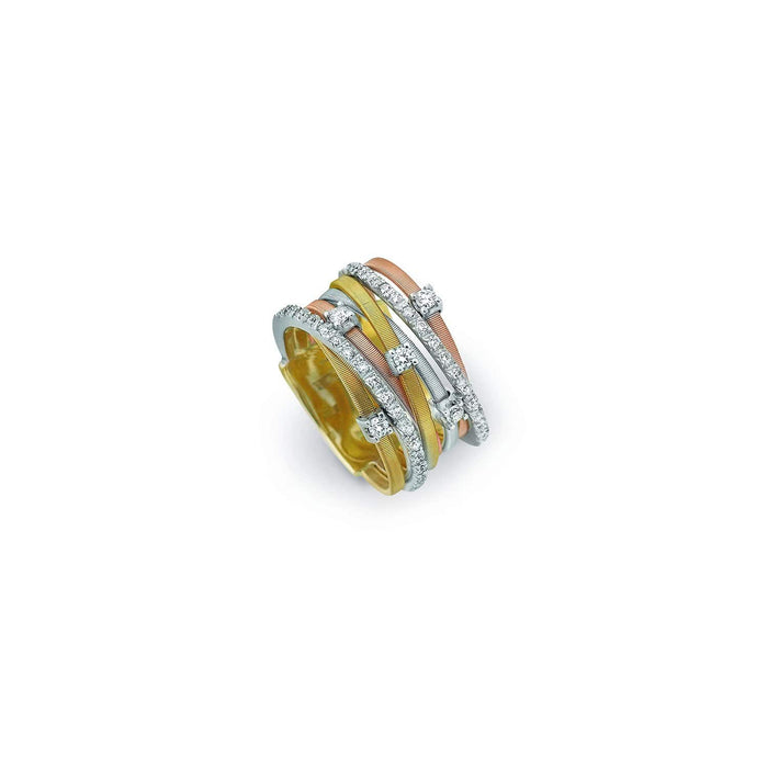 a815d92b2 18K Yellow, Rose and White Gold Seven Strand Diamond & Pave Ring Goa ...