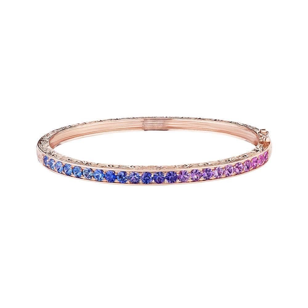 18K Rose Gold Single Row Rainbow Sapphire Bangle