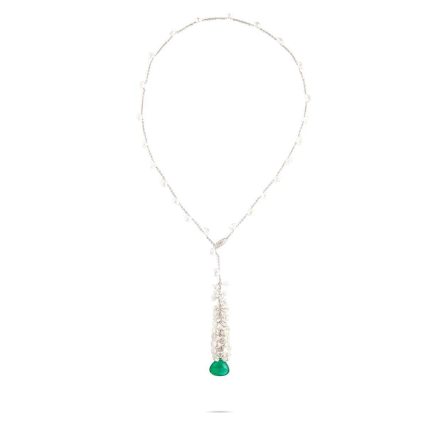 Unico White Gold & Diamond with Emerald Necklace