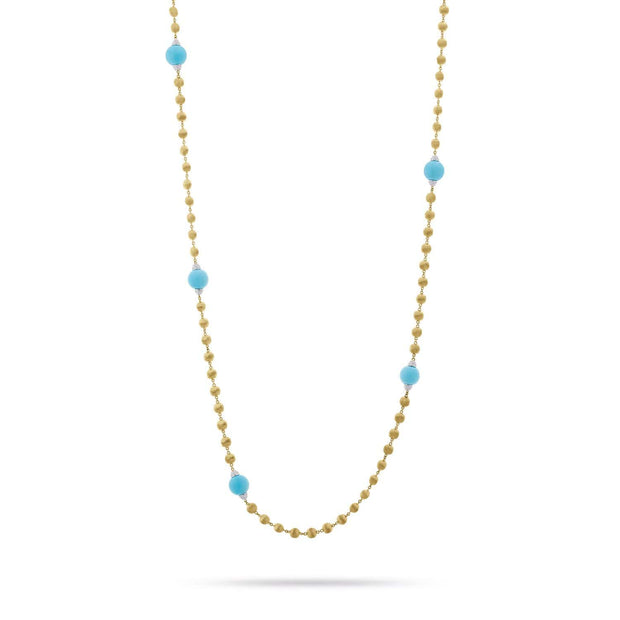 Unico Africa Long Gold with Turquoise and Diamond Necklace