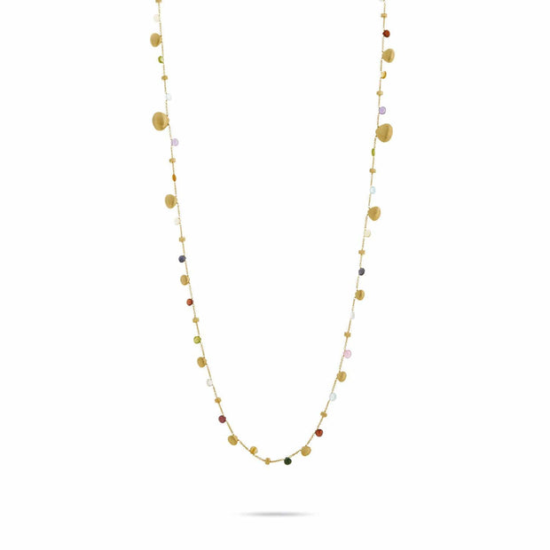 Paradise Mixed Stone and Gold Teardrop Long Necklace