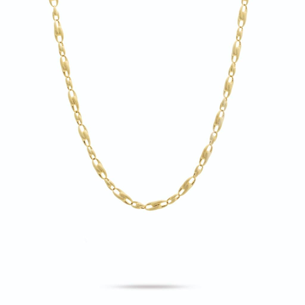 18K Yellow Gold Alternating Link Chain Necklace