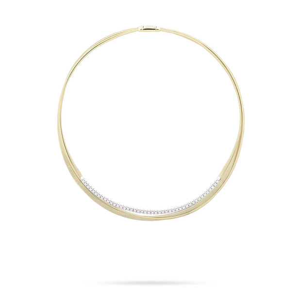 Masai Three Strand Crossover Collar with Diamonds In Yellow Gold
