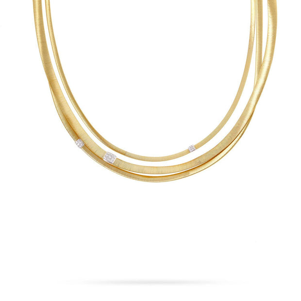 Masai Three Strand Diamond Necklace in Yellow Gold