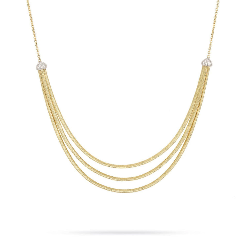 Cairo Gold & Pave Three Strand Collar Necklace
