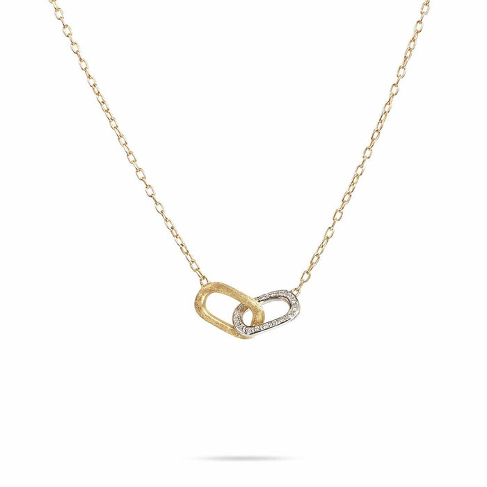 Delicati Gold & Diamond Rectangle Link Pendant