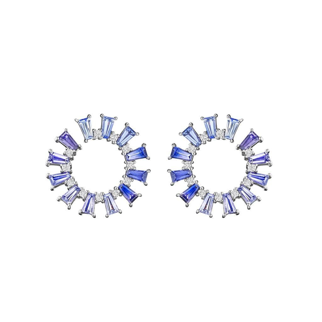 Blue Sapphire Ombre Sprial Hoop Earrings