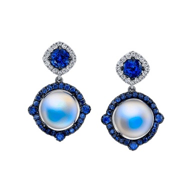 Moonstone, Sapphire, and Diamond Drop Monaco Earrings