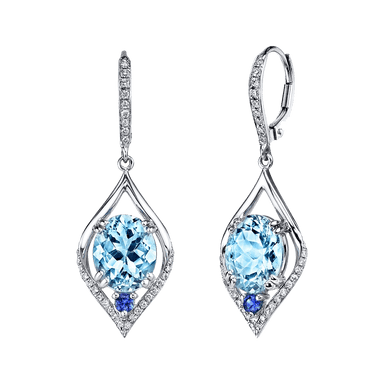 Aquamarine, Sapphire, and Diamond Sevilla Earrings