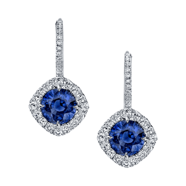 Blue Sapphire and Diamond Dore Drop Earrings