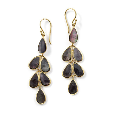 Rock Candy Teardrop Linear Cascade Earrings in Black Shell