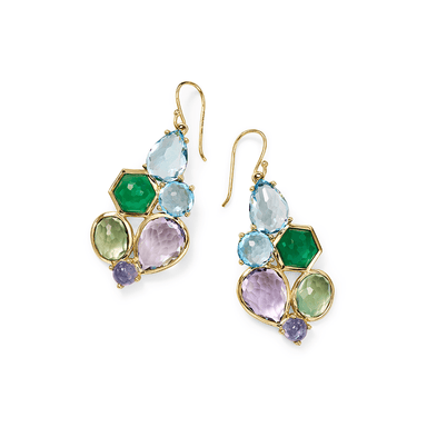 Rock Candy 6 Stone Cluster Earrings in Hologem