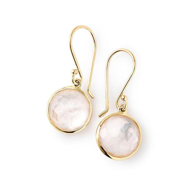 Lollipop Mini Drop Earrings in Mother-Of-Pearl/Clear Quartz Doublet