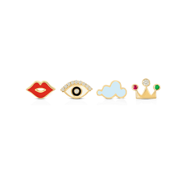 Lips, Eye, Cloud, Crown Earrings