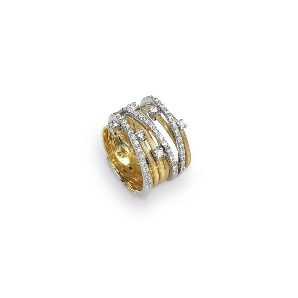 18K Gold & Diamond Nine Row Ring
