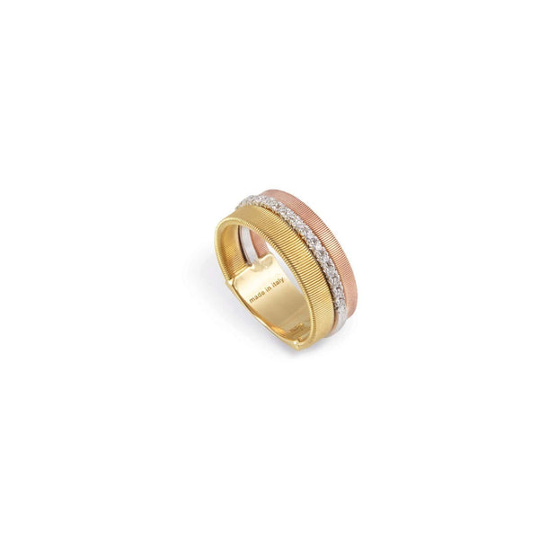 Masai Three Row Pave Diamond Ring In Yellow, White, & Rose Gold