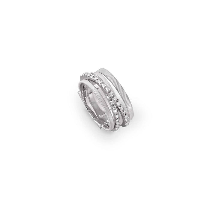 Goa Five Strand Crossover Pave Diamond Ring In White Gold