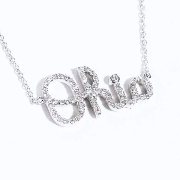 Mini Ohio Diamond Script Necklace with Diamond Accent