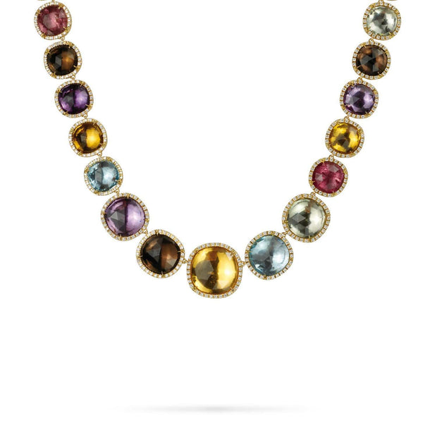 18K Gold Multicolored Stone & Diamond Necklace