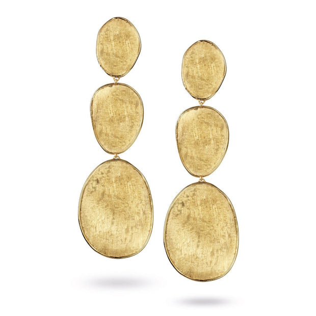 18K Gold Triple Drop Earrings