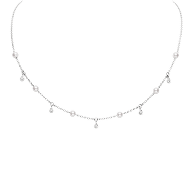 Akoya Pearl and Diamond Station Necklace