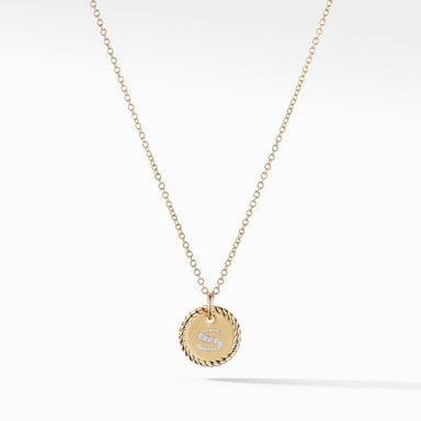 """S"" Pendant with Diamonds in Gold on Chain"