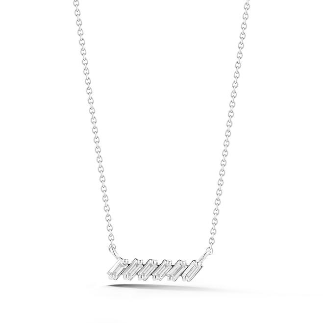 Sadie Pearl Baguette Slope Bar Necklace