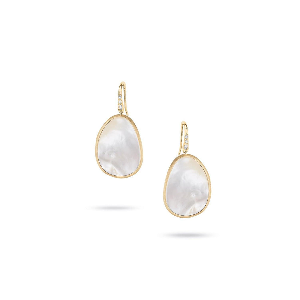 Lunaria White Mother of Pearl with Diamond Pave French Wire Earrings