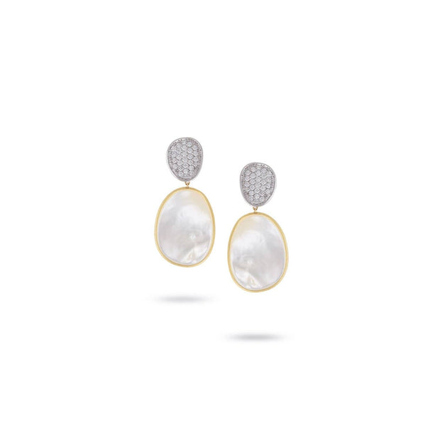 Lunaria Yellow Gold & Diamond with Mother of Pearl Earrings