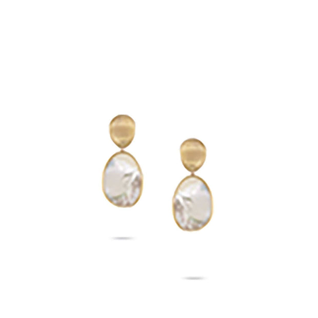 Lunaria Medium Gold & White Mother of Pearl Earrings